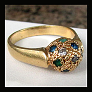 SALE 18K Yellow Gold Custom Made Ring with Gemstones, Size 8 3/4