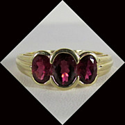 14K Yellow Gold Rubellite Tourmaline Ring Size 9