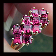 SALE 10K Yellow Gold Deep Pink Tourmaline Ring Size 8
