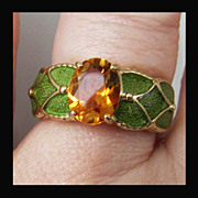 SOLD 10K Yellow Gold Golden Citrine Ring with Green Enamel, Size 7