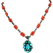SALE Native American Necklace with Natural Coral & Turquoise 26 Inches