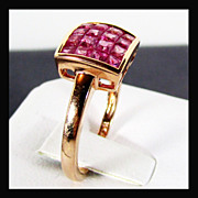 SALE 14K Rose Gold Natural Pink Sapphire Ring, Size 7