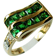 14K Yellow Gold Chrome Diopside Ribbon Ring Size 7
