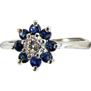 14K White Gold Ring with Diamond & Blue Sapphires Size 4 3/4