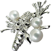 SALE 14K White Cultured Pearl & Diamond Flower Vase Pendant with Chain Necklace