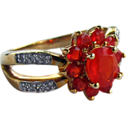 14K Yellow Gold Mexican Fire Opal Ring Size 7