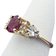 SALE 14K Yellow Gold Rhodolite Garnet & White Sapphire Ring Size 5