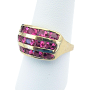 SALE 14K Yellow Gold Pink Tourmaline Ring Size 9