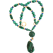 SALE 18K Yellow Gold Hand Carved Malachite & Lapis Necklace 26 Inches Long