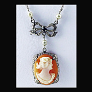 SALE 14K White Gold Hand Carved Shell Cameo Necklace