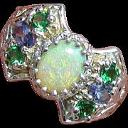 Unusual 14K WG Natural Opal, Tanzanite and Tsavorite Ring, Size 8 3/4