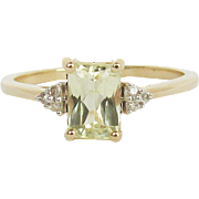 "10K Yellow Gold ""Yellow Kunzite"" Ring Size 8"