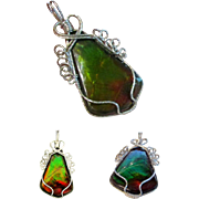 Sterling Pendant with Top Quality Ammolite