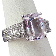 14K White Gold Kunzite and Diamond Ring Size 6