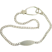 SALE Napier Sterling Silver Gentleman's Watch Chain with Engravable Plaque, Circa 1940's