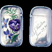 1891 Sterling Silver Enamel Match Safe Vesta with Floral Design