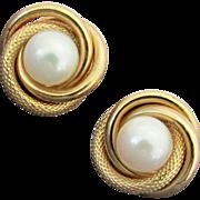 10K Akoya Cultured Saltwater Pearl Love Knot Earrings