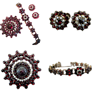 SALE Bohemian Garnet & Cultured Parl Set with Earrings, Brooch and Bracelet- Early 20th Centur