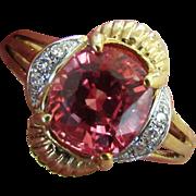 14K YG Lab Padparadscha Sapphire Ring Size 6 3/4