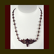 SALE Victorian Bohemian Garnet Necklace - Rare 19 1/2 Inches Long
