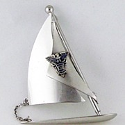 Sterling Silver US Coast Guard Academy Articulated Sailboat Pin