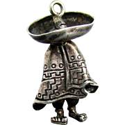 SALE Sterling Silver Mexican Gentleman with Sombrero Charm / Pendant