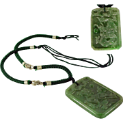 Necklace with Large, Natural Jadeite Double Sided Pendant with Horse & Dragon