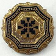 Gold Filled Brooch with Black Enamel