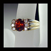 SALE 14K Yellow Gold Madeira Citrine and Diamond Ring Size 5 1/4