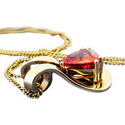 14K Malaya Garnet Pendant with 18K YG Chain