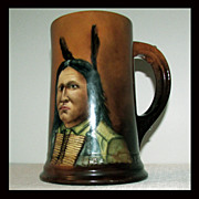 SALE Circa 1901 Hand Painted Portrait of Sitting Bull on a French Limoges Mug