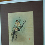 Sparrow and Cherry Blossom  Japanese print Vintage