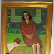 """Reading at Home "" O/C  Mortimer Borne  1902-1987"