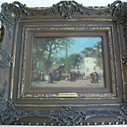 "Platt Powell Ryder 1821- 1896  "" Village Square"" oil"