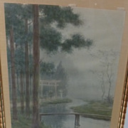 Japanese Water garden   Vintage painting