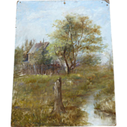 Adirondack landscape oil painting  1890's