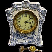 """SOLD Ansonia Mantel Clock - """"Pawnee"""" - Ceramic - Delft Blue Scenic Case - Clean Case"""