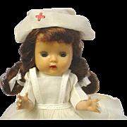 Nancy Ann Storybook Muffie Brunette Braid Doll Tagged Nurse Outfit