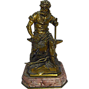 'Le Travail' - (The Work) - Blacksmith, Bronze & Marble - French Antique Figurine - Signed