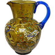 SOLD Moser Glass Pitcher ~ Thumbprint ~ Floral Enameled ~ Blue Handle, c.1885+