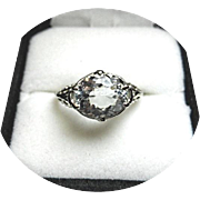 AQUAMARINE Ring - Light Blue - 2.42 Ct. Ring - Art Deco 14k White Gold - Filigree Design