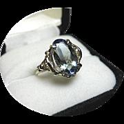 TANZANITE Ring - Light Blue-Green - Natural Earth Gem - Vintage 14K White Gold