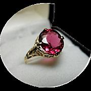 Tourmaline RUBELLITE - Violet-Red Color - 14K Yellow Gold Vintage Filigree Ring