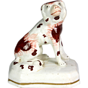 Superb 19th Century Miniature Staffordshire Pottery Spaniel