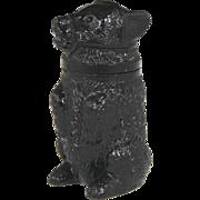 SOLD Circa 1860 Sandwich Amethyst Glass Figural Bear Form Pomade Jar