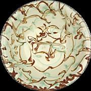 19th Century American Yellow Ware Milk Pan With Exuberant Swirl Glaze
