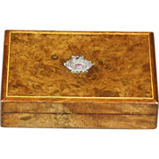 Beautiful Edwardian Burled Box with Enamelled Silver Accent