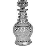 Fine Circa 1850 English Hand Blown & Cut Glass Spirit Decanter