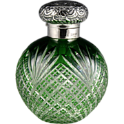 Exquisite 19th Century English Overlay Glass Scent Bottle with Embossed Sterling Top