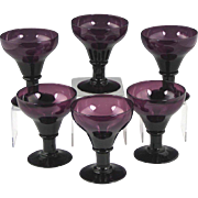 Rare Set of Circa 1820 English Amethyst Glass Rummers